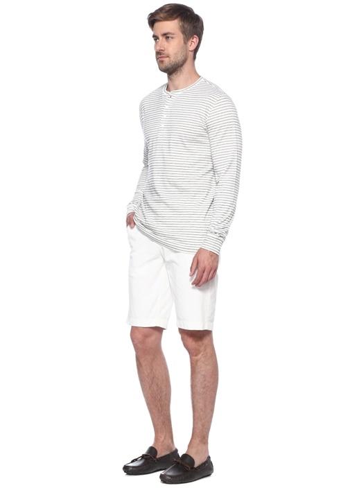 Beyaz Çizgili Bisiklet Yaka T-shirt