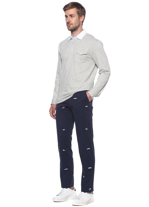 Lacivert Normal Bel Nakışlı Dar Paça Pantolon