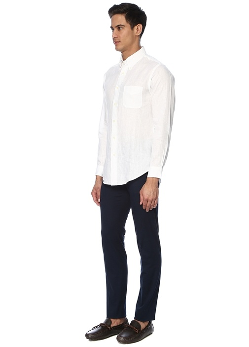 Beyaz Düğmeli Yaka Keten Gömlek