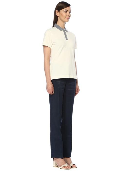 Slim Fit Beyaz Polo Yaka Garnili T-shirt