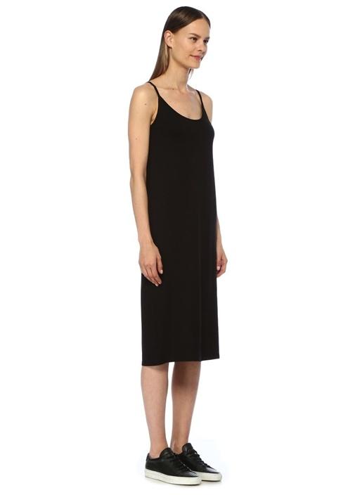 Siyah U Yaka Midi Elbise