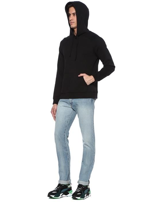 Siyah Kapüşonlu Dekoratif Dikişli Sweatshirt