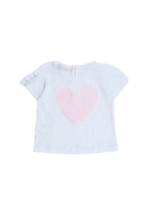Beyaz Pembe Pullu Kalp Nakışlı Kız Çocuk T-shirt