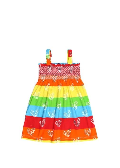 Colorblocked Çiçek Desenli Kız Çocuk Elbise