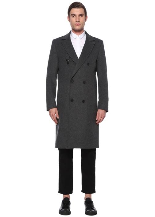Antrasit Kırlangıç Yaka Kruvaze Palto