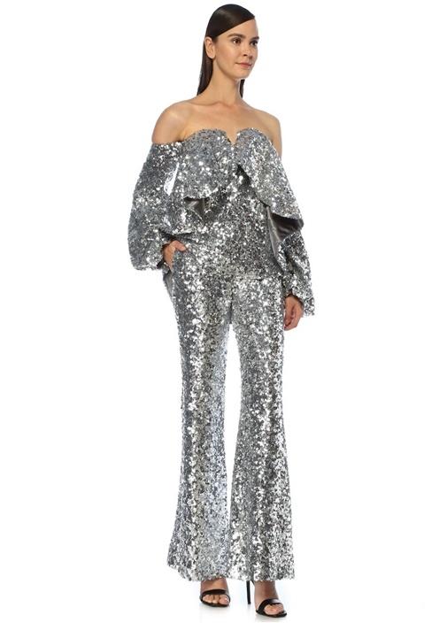 Silver Yüksek Bel İşlemeli Bol Paça Pantolon