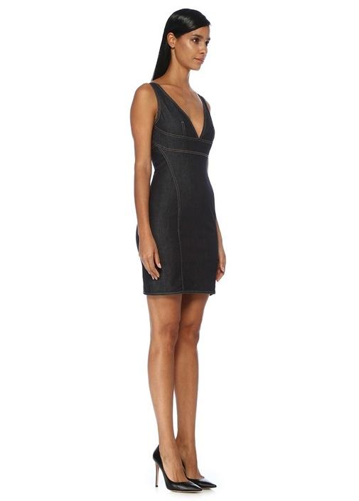 V Yaka Dikiş Detaylı Mini Denim Elbise
