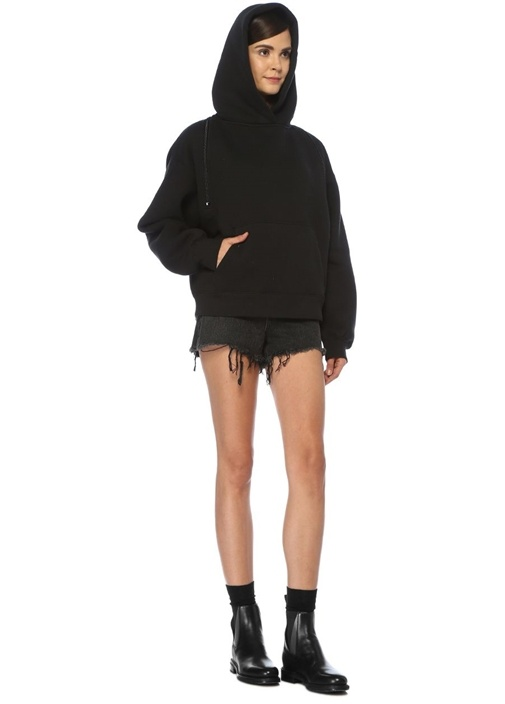 Siyah Kapüşonlu Fermuar Detaylı Sweatshirt