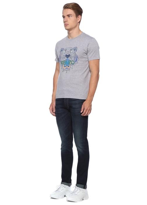 Gri Bisiklet Yaka Kaplan Baskılı LogoluT-shirt