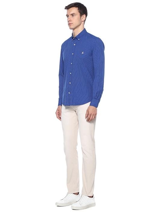 Comfort Fit Lacivert İnce Çizgili Gömlek