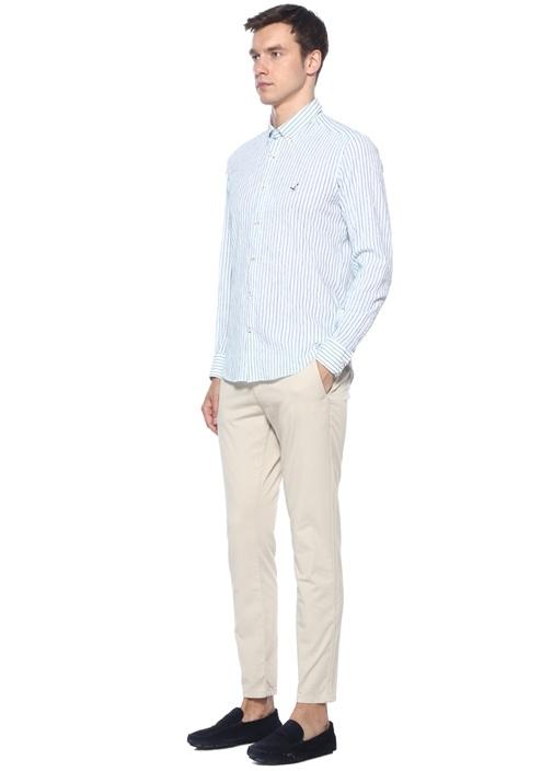Comfort Fit Mavi Beyaz Çizgili Gömlek