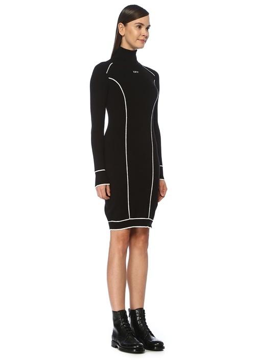 Siyah Beyaz Balıkçı Yaka Midi Triko Elbise