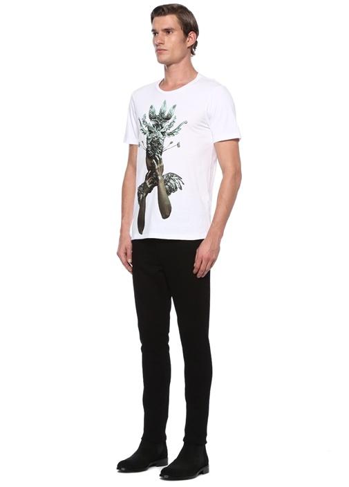 Flaka Beyaz İşlemeli Figürlü Jersey T-shirt