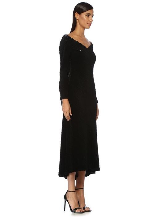 Elaina Siyah Düşük Omuzlu Midi Kokteyl Elbise