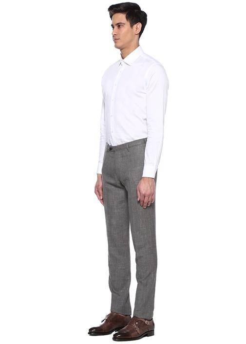 Gri Normal Bel Dar Paça Desenli Yün Pantolon