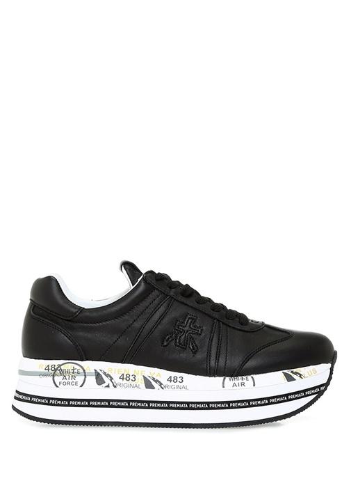 Siyah Taban Detaylı Logolu Kadın Yün Sneaker