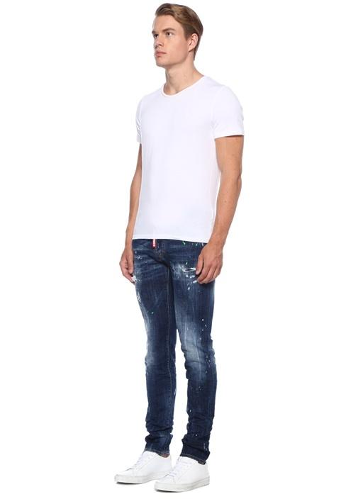 Slim Fit Fırça Darbeli Yıpratmalı Jean Pantolon
