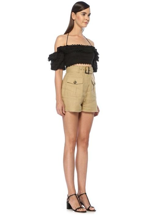 Allia Siyah Omzu Açık Bağcıklı Crop Keten Bluz
