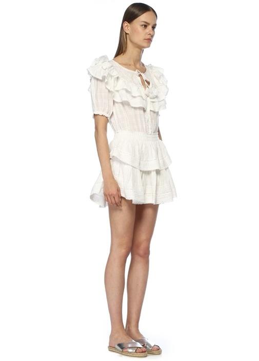 Liv Beyaz Nakışlı Volanlı Mini Elbise