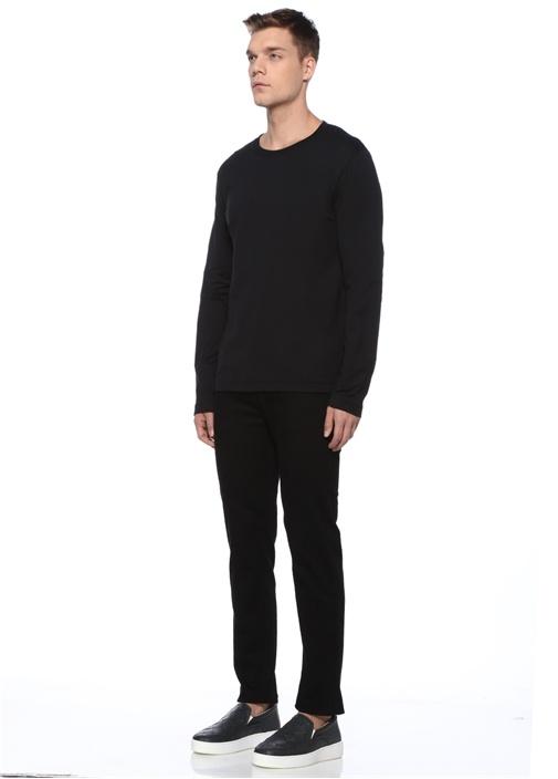 Siyah Kolları Kabartma Desenli T-shirt