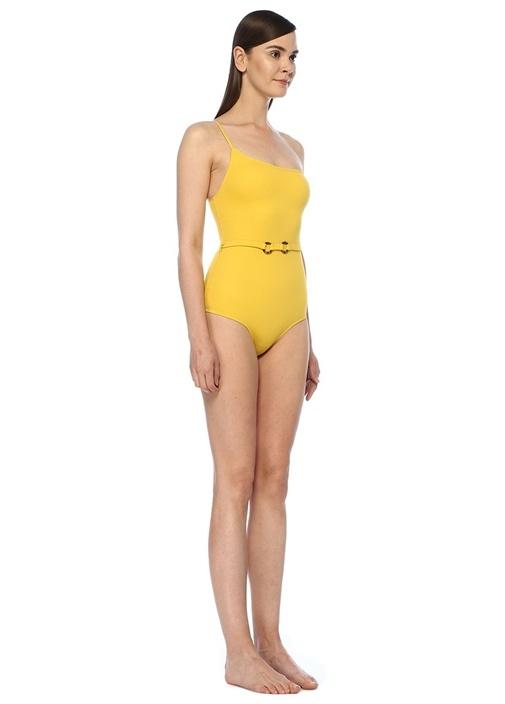Sarı Tek Omuzlu Beli Kemer Detaylı Mayo