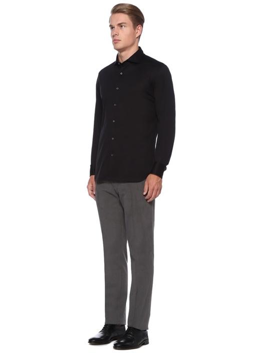 Drop 2 Siyah İngiliz Yaka Gömlek