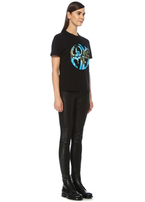 Love Me Siyah Baskılı Oversize T-shirt