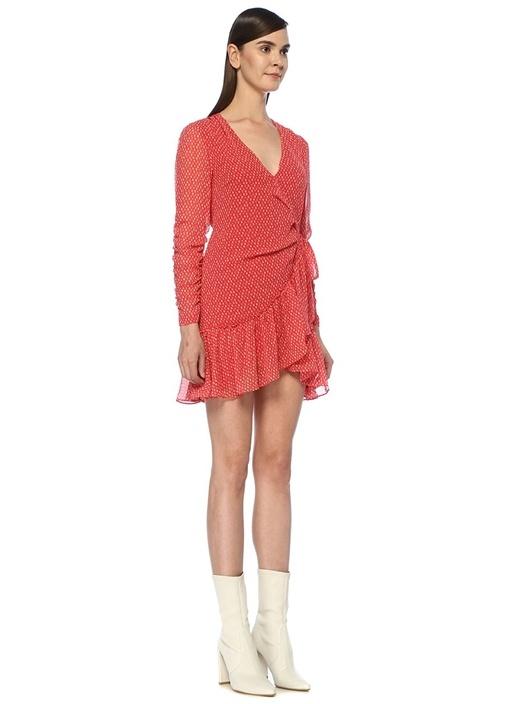 Flores Hearts Kırmızı Fırfırlı Mini Anvelop Elbise