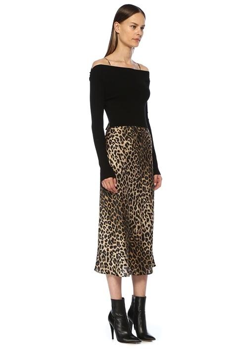 Hera Leppo Triko Detaylı Leopar Desen Midi Elbise