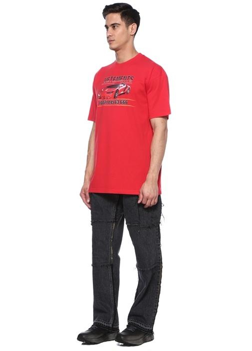 Kırmızı Karışık Baskılı T-shirt