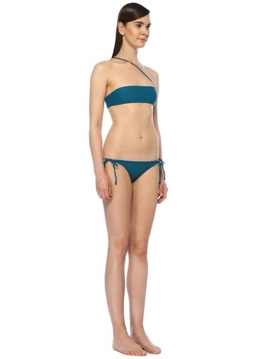 Angle Petrol Çapraz Omuz Askılı Bikini Üstü