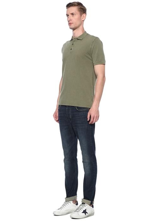 Yeşil Polo Yaka Dokulu T-shirt