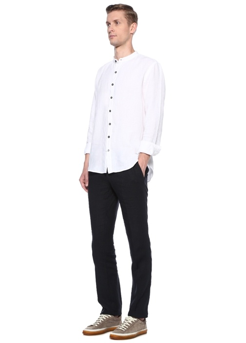 Beyaz Dik Yaka Keten Gömlek