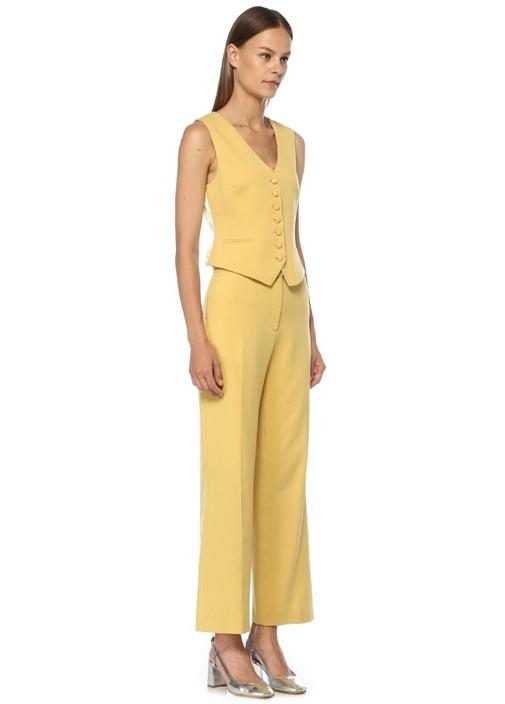 Sarı Yüksek Bel Bol Paça Krep Pantolon
