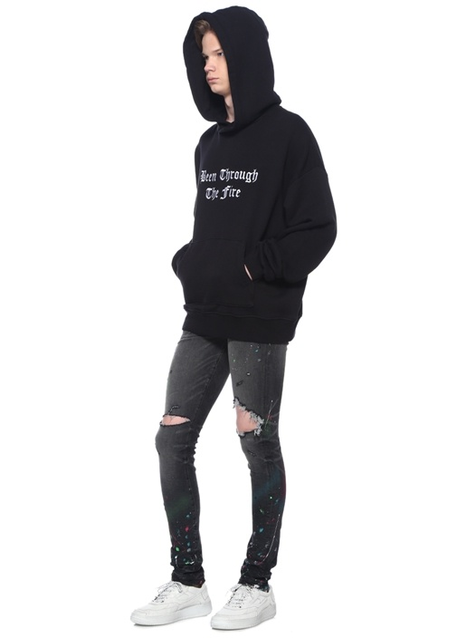 Been Through The Fire Siyah Kapüşonlu Sweatshirt