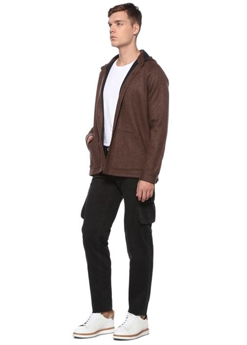 Kahverengi Kapüşonlu Yün Dış Gömlek