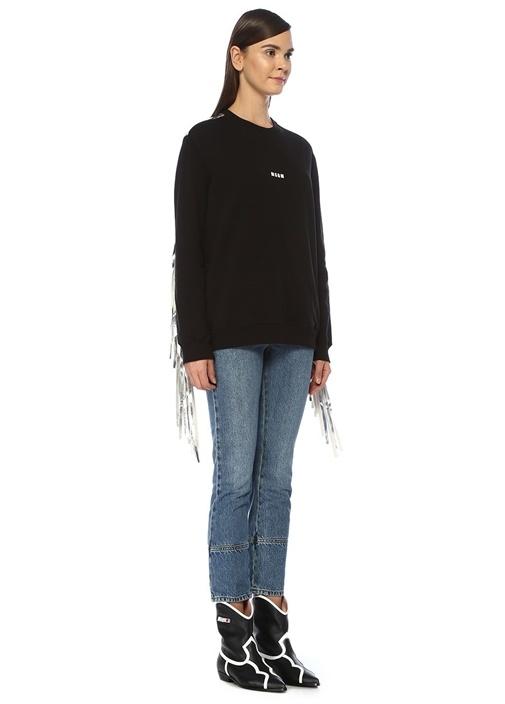 Siyah Silver Arkası Püskül Detaylı Sweatshirt