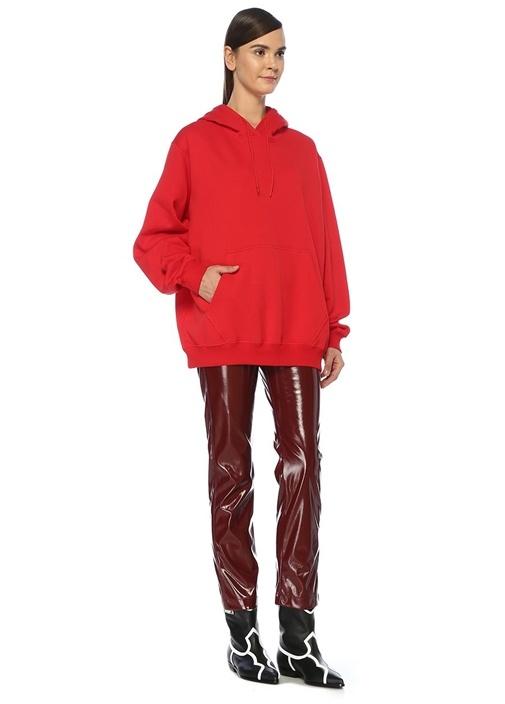 Oversize Kırmızı Kapüşonlu Logo BaskılıSweatshirt