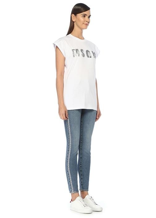 Beyaz Silver İşlemeli Logolu T-shirt