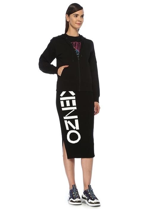 Siyah Kapüşonlu Simli Logolu Fermuarlı Sweatshirt