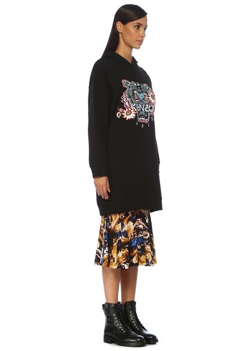 Passion Flower Tiger Siyah Kapüşonlu Sweatshirt