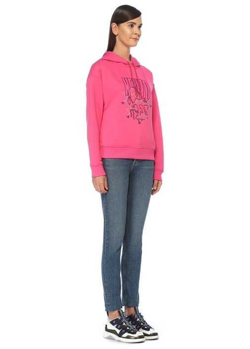 Fuşya Kapüşonlu İşlemeli Sweatshirt
