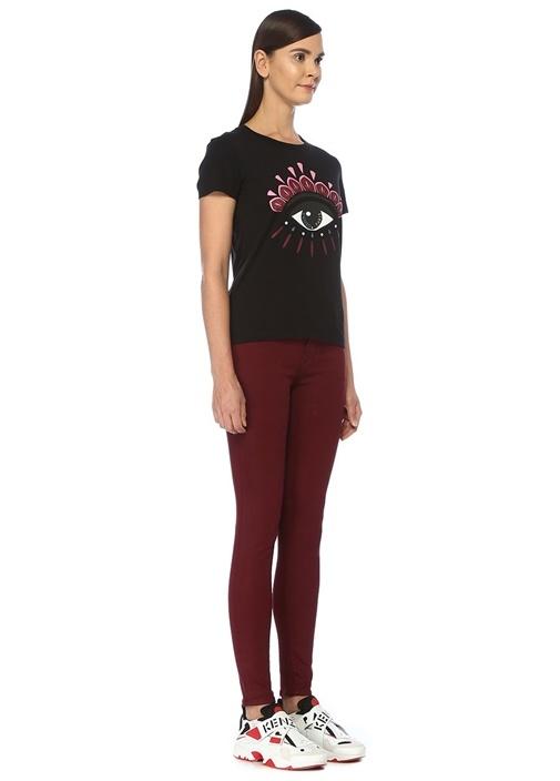 Siyah Göz Baskılı Logolu Basic T-shirt