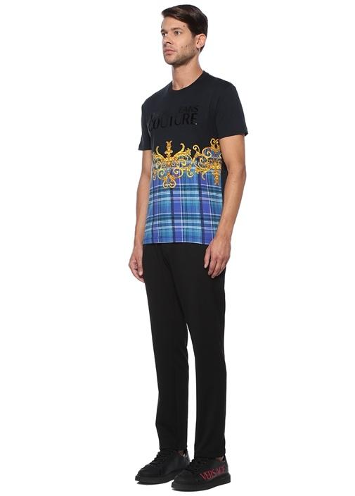 Siyah Mavi Barok Desenli Ekoseli Basic T-shirt