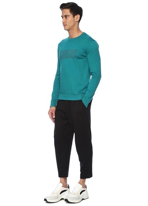 Yeşil Bisiklet Yaka Kontrast Logolu Sweatshirt
