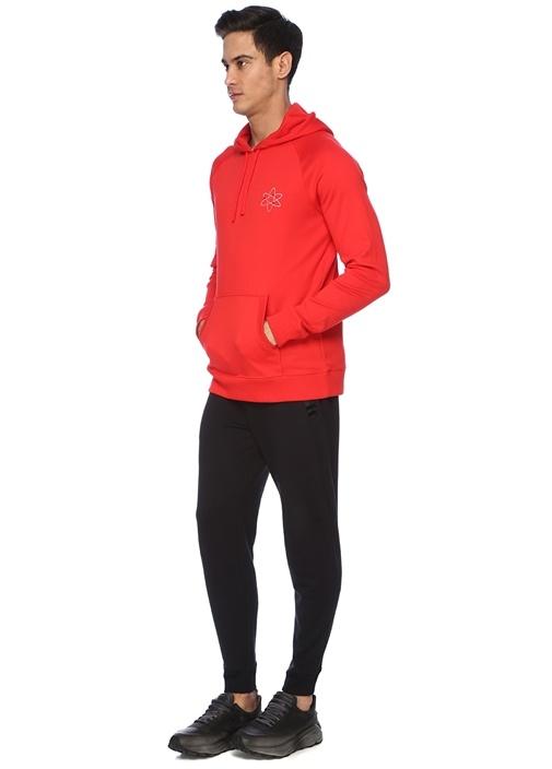 Kırmızı Kapüşonlu Logolu Sweatshirt