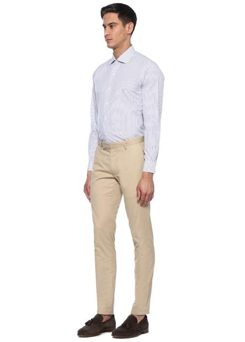 Lacivert Beyaz İngiliz Yaka Çizgi Desenli Gömlek