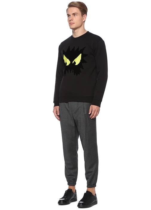 Siyah Canavar Baskılı Sweatshirt