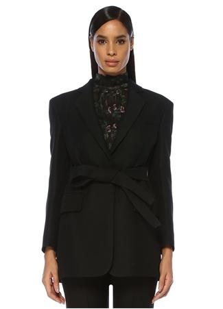Valentino Kadın Siyah Kelebek Yaka Beli Bağcıklı Uzun İpek Ceket 42 IT