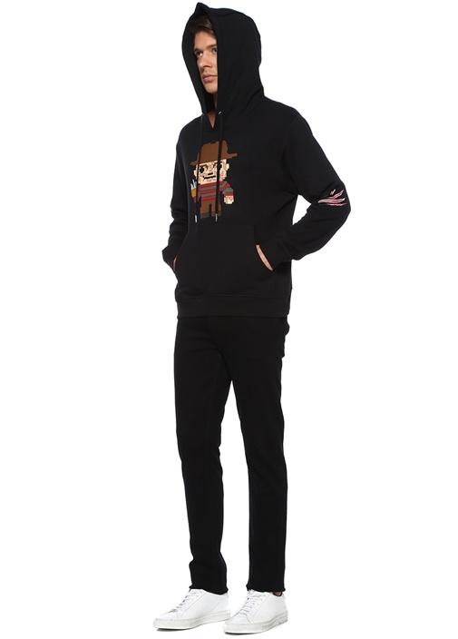 Claw Siyah Karikatür Kabartmalı Sweatshirt